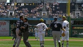 Benches clear after Carlos Gomez, Pirates get into it