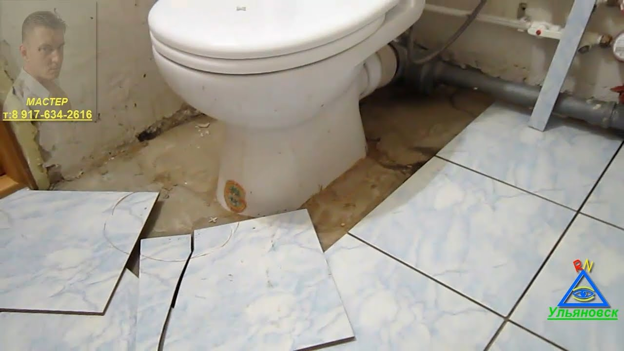 Выложить плитку на пол в туалете своими руками 27