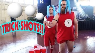 CRAZY BEER PONG TRICK SHOTS AT WORLDS LARGEST BEER PONG TOURNAMENT!