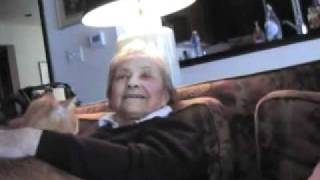 "89 yr old Grandmother sings ""It Was Facination"" her way glass of vodka in hand...rated R..."