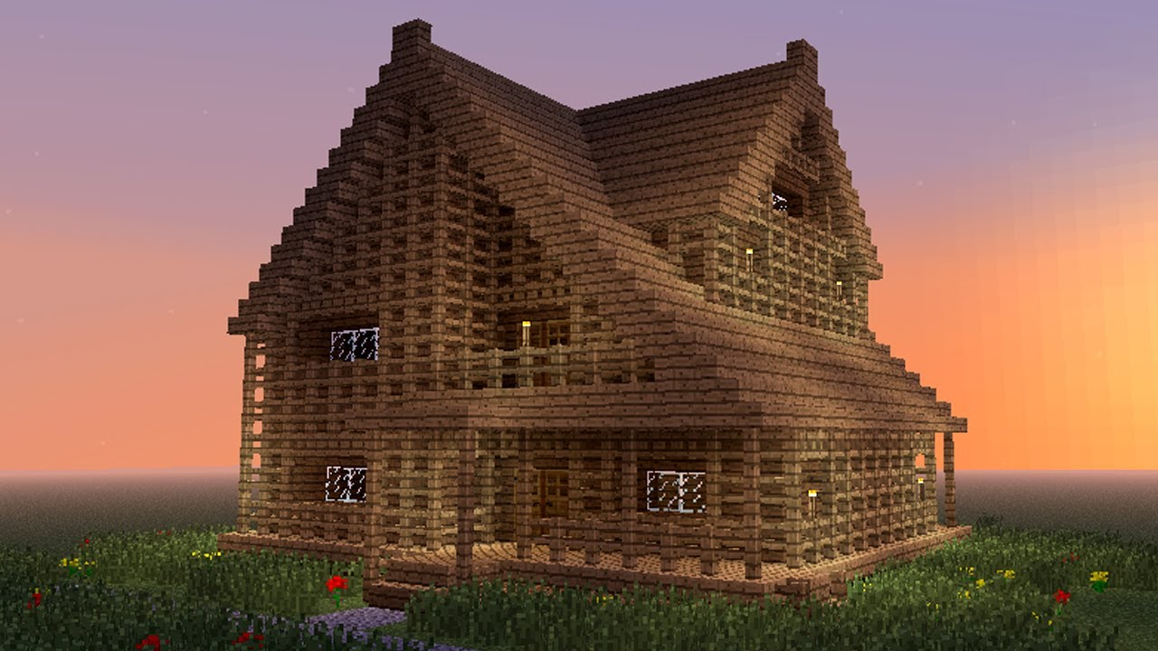 Minecraft how to build big wooden house youtube for First step to building a house