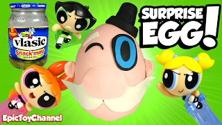 SURPRISE EGGS The Mayor from POWERPUFF GIRLS on Cartoon Network + Teen Titans Go Surprise Toys