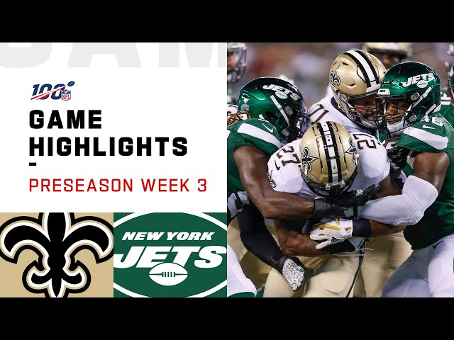 Saints vs. Jets Preseason Week 3 Highlights  NFL 2019