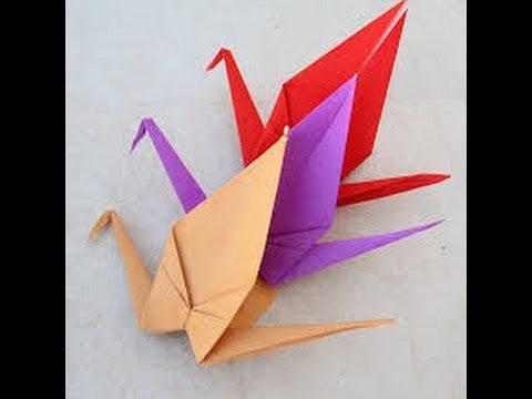 تعلم طريقة عمل طائر الكركى عن طريق طى الورق  