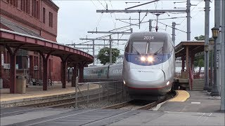 Amtrak & SLE HD 60fps: Northeast Corridor Morning Horn Action @ New London (9/18/17)
