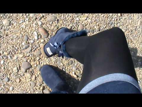 Walking in blue Ugg Bailey Bow with my black stockings & blue mini short Naf Naf