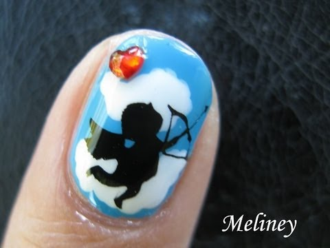 Cupid Nails -  Cute and Easy God of Love Valentines Day Design nail art tutorial Image Plate A25