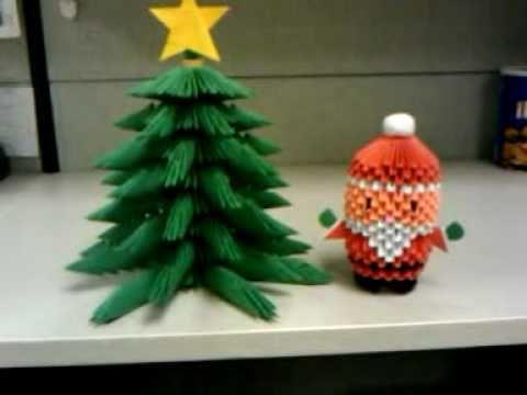 3d origami santa and christmas tree