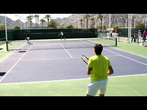 Canadian Milos Raonic practices with Spain's Marcel Granollers. Warming up with some forehands and backhands. Part 1.