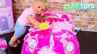 Baby Doll car Wash Toy! Play OG Dolls pink car toys wash! AG Dolls make up hairstyle Shimmer Shine!