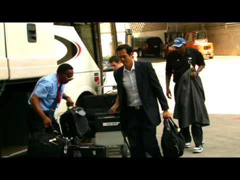 Erik Spoelstra arrives for Game 2