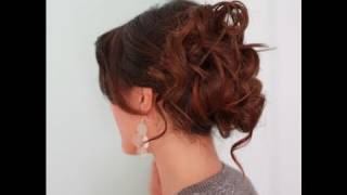 EASY PROM WEDDING HAIRSTYLES WITH CURLS| FORMAL UPDOS FOR MEDIUM