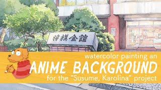Anime Background with watercolors