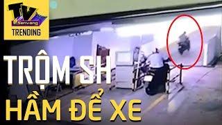 Trộm thản nhiên vào tận hầm chung cư lấy xe SH phóng vù qua mặt bảo vệ