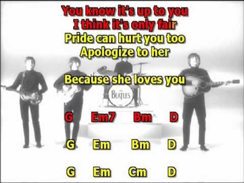 She loves you  Beatles  best karaoke instrumental lyrics chords