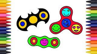 How To Draw and Color Fidget Spinner l Kids Drawing GIANT Fidget Spinner Coloring Videos