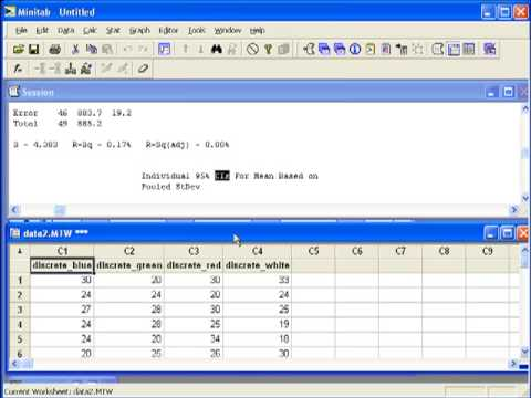 16 one way anova in minitab youtube