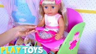 Play Baby Born Doll Cooking Breakfast Toys Food!