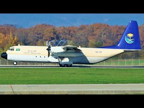 [FullHD] *RARE* Saudi Arabian Lockheed C-130 Hercules takeoff at Geneva/GVA/LSGG