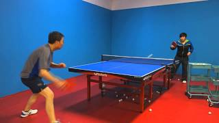 Training with Coach Li: Backhand flip, followed by backhand and forehand loop