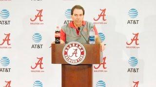 Alabama Head Football Coach Nick Saban talks to the media