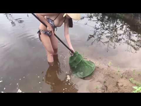 Cận Cảnh Gái Xinh Mặc Bikini Bắt Cá Quả Khủng Và ếch Bằng Cung Và Đinh Ba- Xem Đi Xem Lại Không Chán