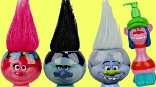 TROLLS Poppy, Branch, Guy Diamond Bath Tub Time, Body Wash, Brush, Soap Scrub Full Toy Sets / TUYC