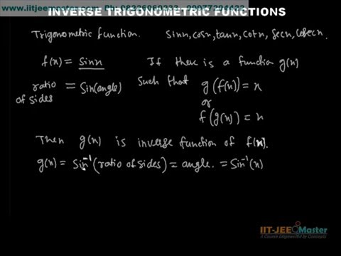 Iit Jee Maths Video Lectures, Theory  Inverse Trigonometric Function video