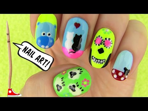 Nails, Nail Art Tutorial Using A Toothpick! 5 Nails, Nail Art Designs video