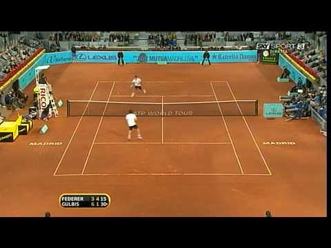 Federer - Gulbis  Roger's NO LOOK point . Great !   MAD2010