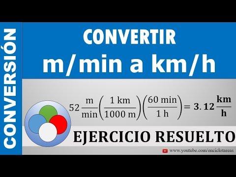 CONVERTIR DE M/min A Km/h