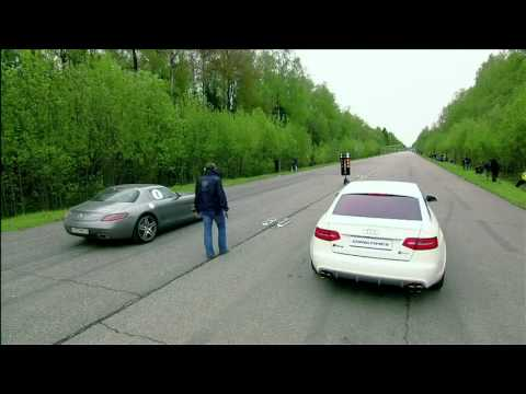 Mercedes Benz SLS AMG vs BMW M6 vs Audi RS6 Evotech.