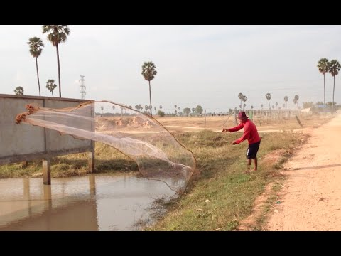 Cast Net Fishing at Krang Thnong the west of Phnom Penh city in Cambodia
