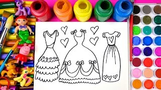 Drawing and Coloring for Kids Pretty Dresses Coloring Pages with Watercolor Paint