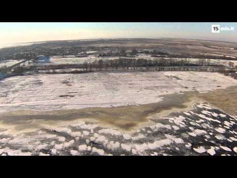 Ledo kelias Klaipėdos rajone iš paukščio skrydžio