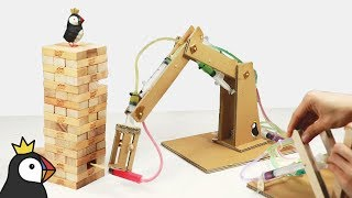 Playing Jenga with Hydraulic Powered Robotic Arm from Cardboard
