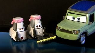 Cars 2 Cleaning Pitty, Sushi Chef Tokyo Party Staff Miles Axlerod Movie Moments 2013 Disney toys