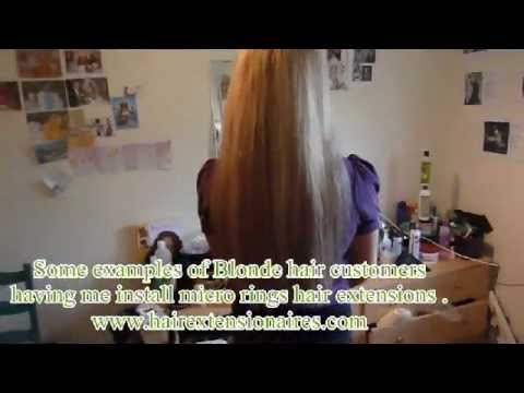 Blonde hair extensions  NO GLUE NO SEW NO BRAIDS micro ring weave on london