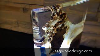 Epoxy L.E.D. Lamp - poplar wood and clear crystal epoxy