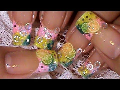 Lemon Lime Fimo Fruit Slices Nail Art Design Tutorial