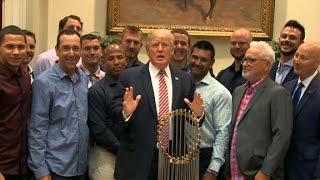 Trump touts health care surprise at Cubs event