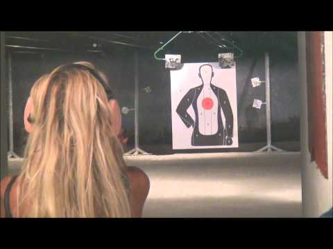 Dumb Blonde learns how to shoot North American Arms 22. Magnum and also shoots .