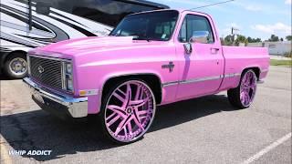 WhipAddict: Outrageous Pink 85' Chevrolet Silverado C-10 on Forgiato Decimo 28s!