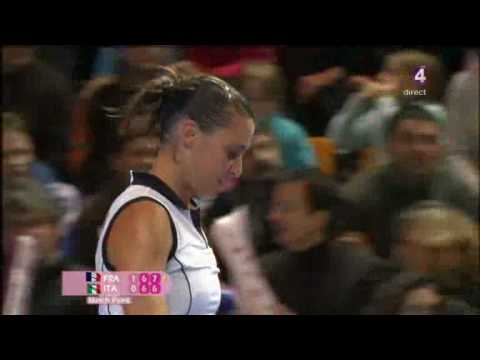 WTA 2009 FedCup QF Flavia Pennetta incident with FK gesture Video