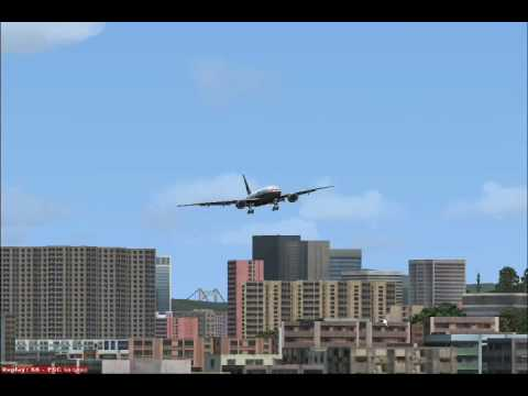Flight Simulator:X Malaysia Airlines Boeing 777 Landing In Kai Tak Old