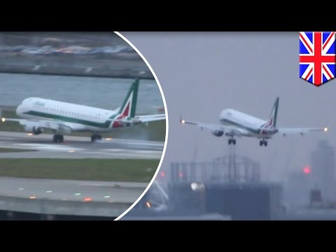 Caught on camera: Pilot aborts landing at London City Airport due to Storm Imogen - TomoNews