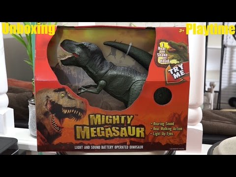 Dinosaur Toys For Kids: Mighty Megasaur T-rex With Lights & Sounds Unboxing video