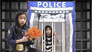 Pretend Play Police LOCKED UP Kaycee in Jail Playhouse Toy for Kids