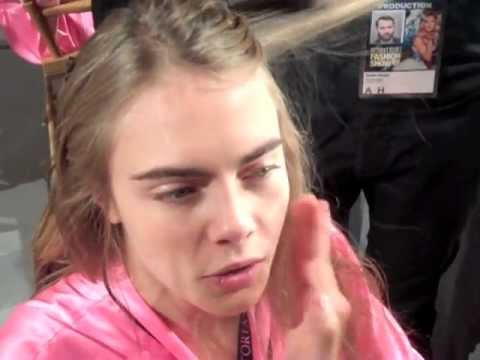 CARA DELEVINGNE BACKSTAGE AT VICTORIA'S SECRET 2012