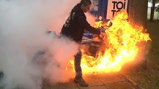 Польский Байкер спалил резину вместе с мотоциклом